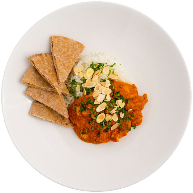 Get Crafted Meals Chicken Tikka Masala with Steamed Jasmine Rice, Sliced Almonds and Whole Wheat Pita