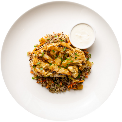 Get Crafted Meals Cumin Spiced Cauliflower with Quinoa Salad and Greek Yogurt Sauce