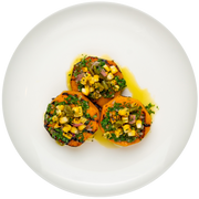 Get Crafted Meals Grilled Butternut Squash Steaks with Roasted Corn Poblano Relish and Chimichurri