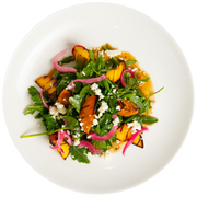 Get Crafted Meals Grilled Stone Fruit Arugula Salad with Peaches, Apricots, Feta Cheese, Pickled Red Onion, Parsley, Chives and Balsamic Vinaigrette