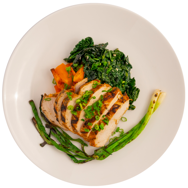 Grilled Piri Piri Chicken Breast with Roasted Sweet Potatoes and Braised Greens