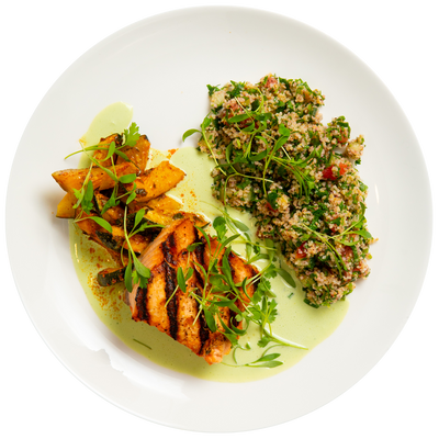 Get Crafted Meals Grilled Salmon with Tabbouleh, Harissa Roasted Zucchini and Cilantro Garlic Yogurt Sauce