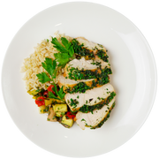 Get Crafted Meals Herb Crusted Chicken with Grilled Mixed Vegetables and Steamed Brown Basmati Rice