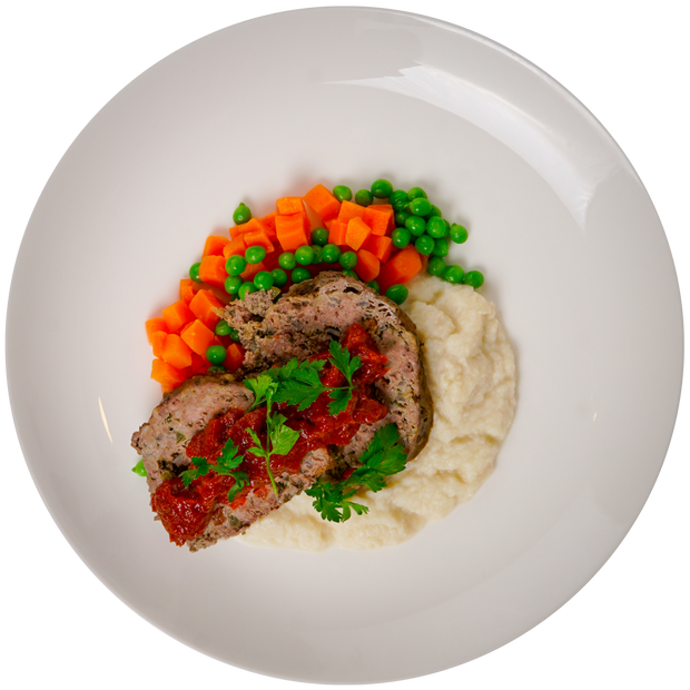Get Crafted Meals Beef Meatloaf with Carrots, Peas, Cauliflower Mash + House Ketchup