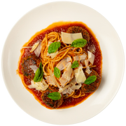 Get Crafted Meals Chicken and Basil Meatballs with Whole Wheat Spaghetti, Marinara, Parmesan, and Basil