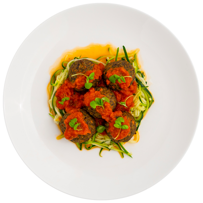 Get Crafted Meals Portabella Mushroom Meatballs with Zoodles and Marinara