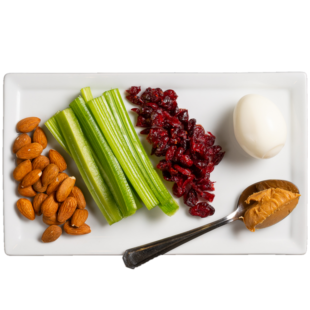 Get Crafted Meals Protein Snack Pack with Almonds, Celery, Dried Cranberries, Hard Boiled Egg and Peanut Butter