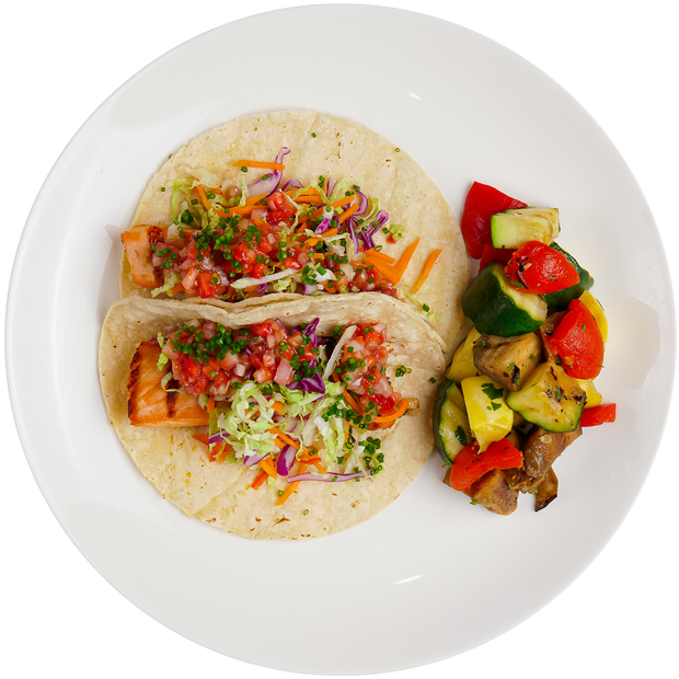Get Crafted Meals Grilled Salmon Tacos with Grilled Mixed Vegetables and Strawberry Salsa