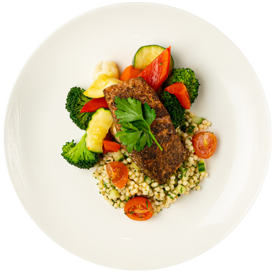 Get Crafted Meals Zatar Spiced Salmon with Lemon Herb Couscous Salad and Steamed Mixed Vegetables