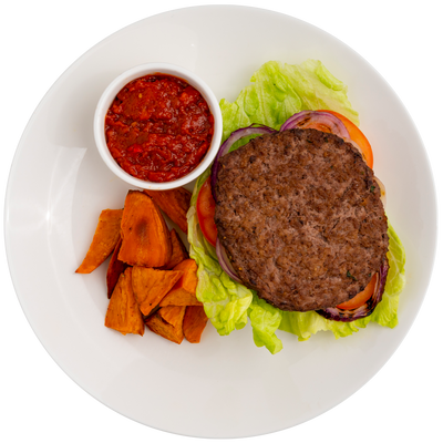 Sirloin Burger with Roasted Sweet Potatoes, Lettuce, Onion, Tomato, and House Ketchup