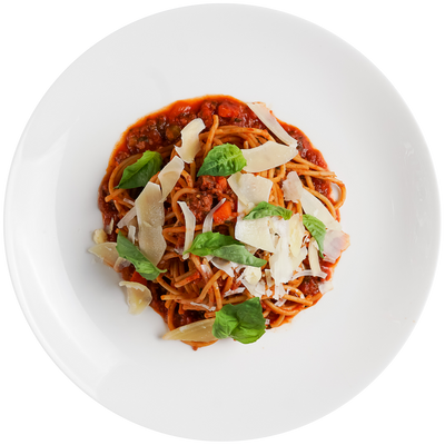 Turkey Bolognese with Whole Wheat Spaghetti, Basil, and Parmesan Cheese