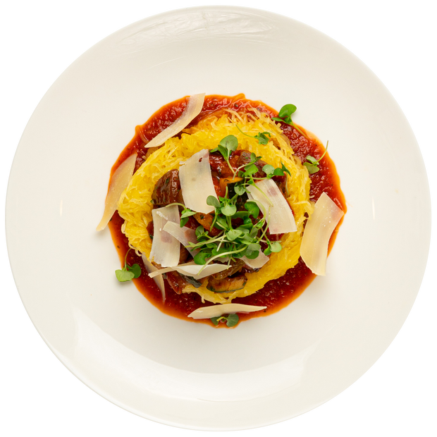 Get Crafted Meals Roasted Spaghetti Squash with Ratatouille, Parmesan Cheese, and Marinara