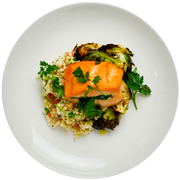 Get Crafted Meals Spinach Stuffed Salmon with Lemon Herb Couscous, Roasted Brussels Sprouts and Lemon Agave Vinaigrette