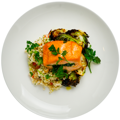Spinach Stuffed Salmon with Lemon Herb Couscous, Roasted Brussels Sprouts and Lemon Agave Vinaigrette