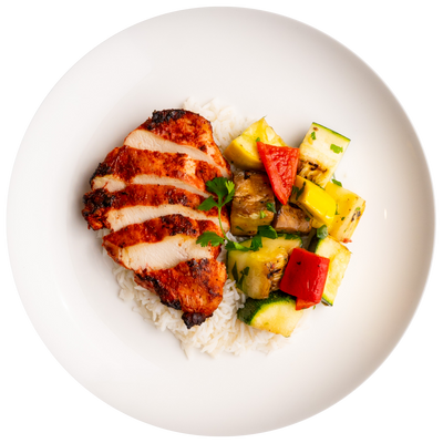 Get Crafted Meals Tandoori Spiced Chicken Breast with Grilled Mixed Vegetables and Steamed Basmati Rice