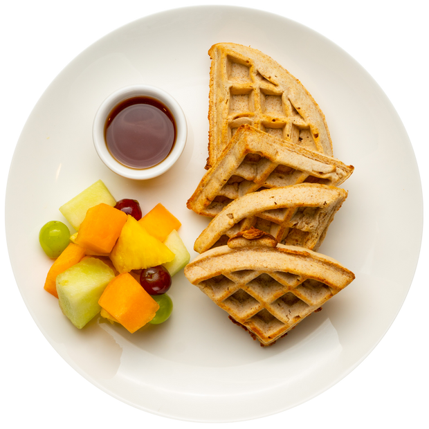Get Crafted Meals Whole Wheat Blueberry Waffles with Agave and Fresh Fruit Salad