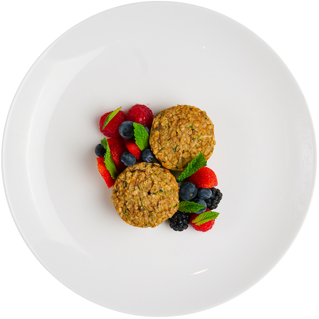 Get Crafted Meals Zucchini Banana Oat Bites with Fresh Berries and Basil