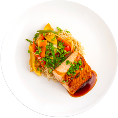 Get Crafted Meals Teriyaki Grilled Salmon with Stir Fry Vegetables, Steamed Brown Jasmine Rice and Gluten Free Tamari Sauce