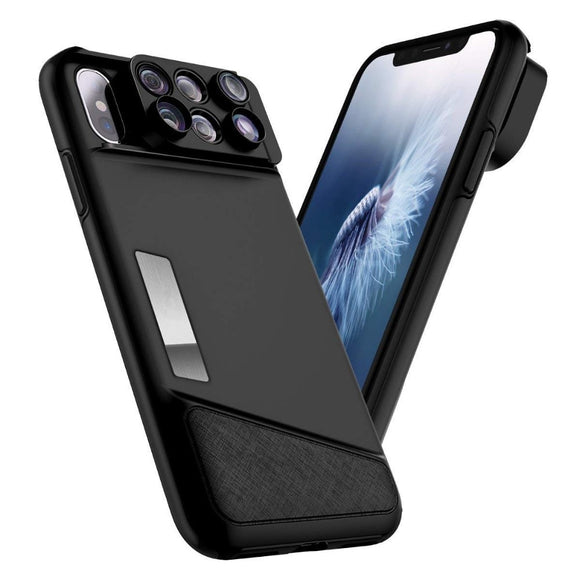 6-in-1 Lens Quick Switch Optical Lens Case for Apple iPhone X, 7 Plus, and 8 Plus