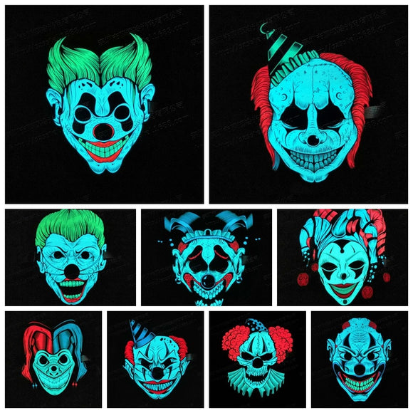 Sound Reactive Glowing LED Scary Clown Halloween Mask - YeeSales