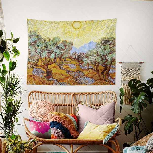 WALLHANG | Olive Trees with Yellow Sky and Sun | Duvar Örtüsü | wallhang.com.tr