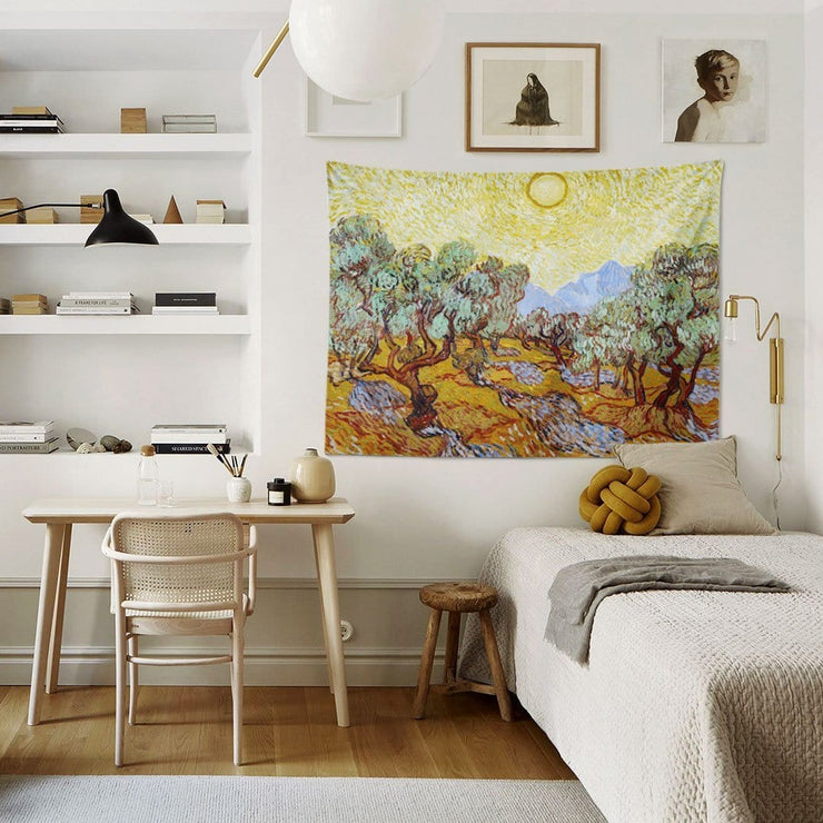 WALLHANG | Olive Trees with Yellow Sky and Sun | Duvar Örtüsü | Tapestry