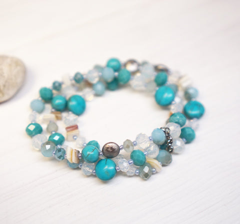 Triple Rows Natural Stone And Glass Beads Stretch Bracelet