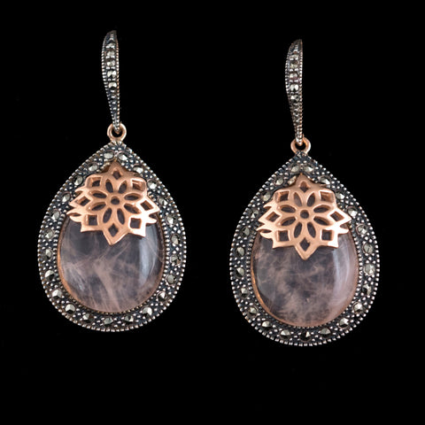 Rose Gold / Rose Qaurtz Teardrop Earrings