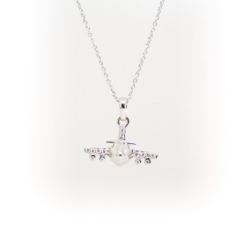 Delicate Sterling Silver Airplane Necklace
