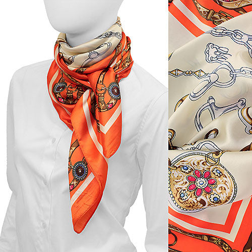 Belts and Ornaments Square Satin Scarf - Orange