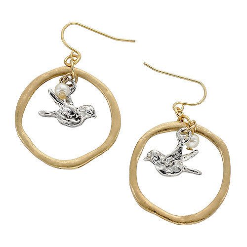 Bird/Pearl Two-tone Drop Earrings