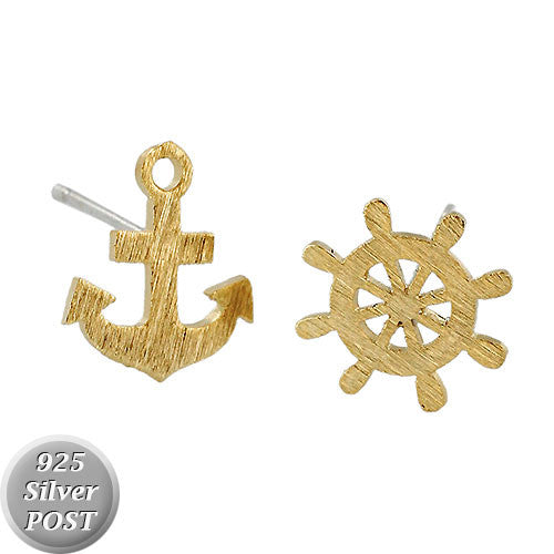 Mini Anchor and Rudder Earrings