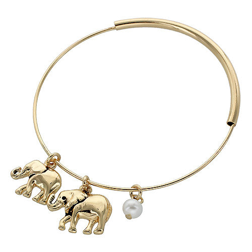 Elephant Charm Bangle - Antique Gold/Pearl