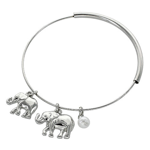Elephant Charm Bangle - Rhodium/Pearl
