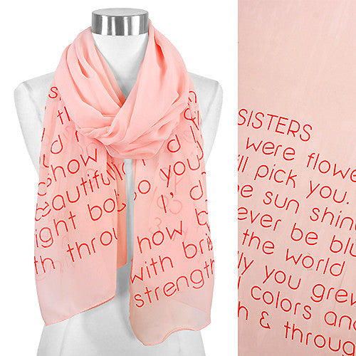 Message Scarf - Sister - Peach