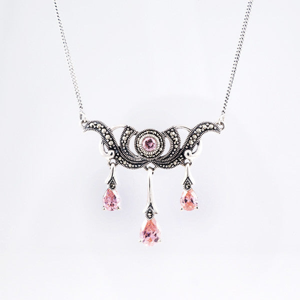 Vintage Style with Pink CZ and Marcasite