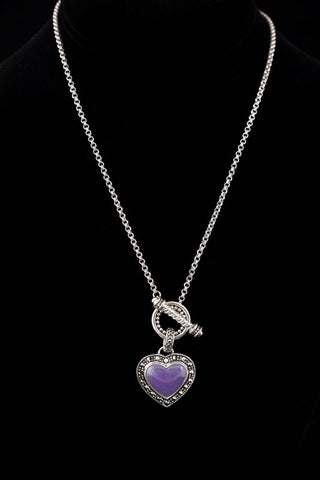 Lavender Jade Heart Necklace