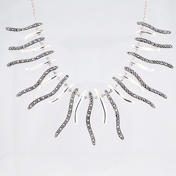 Wavy Sterling Silver Necklace - M6-285