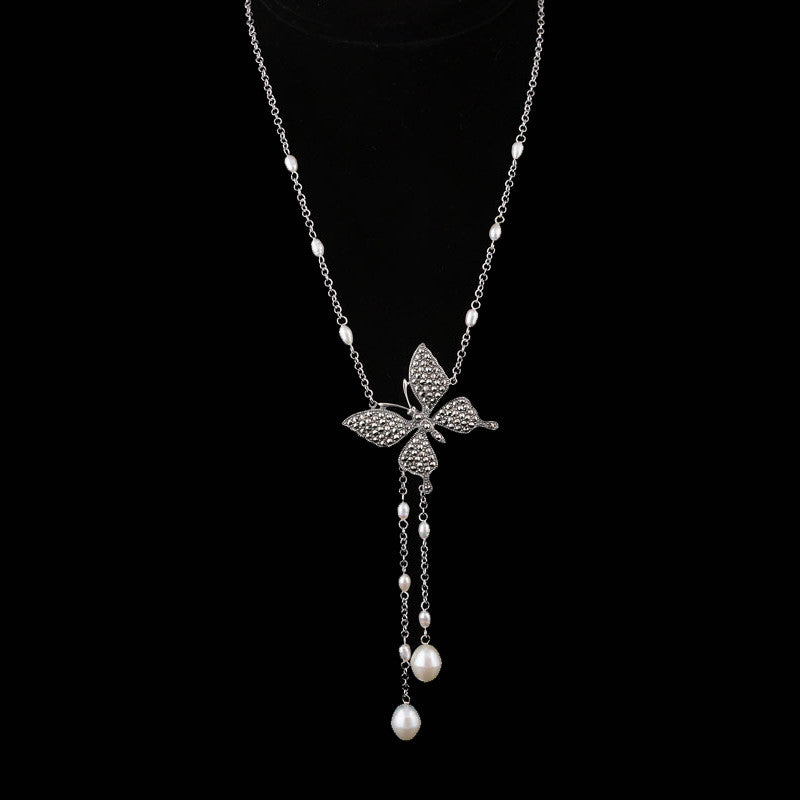 Marcasite butterfly and frest water pearls necklace