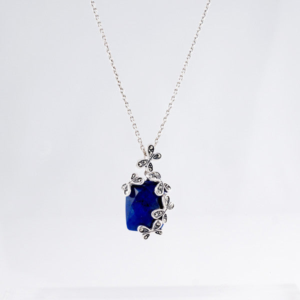 Lapis with Butterfly Sterling Silver Necklace