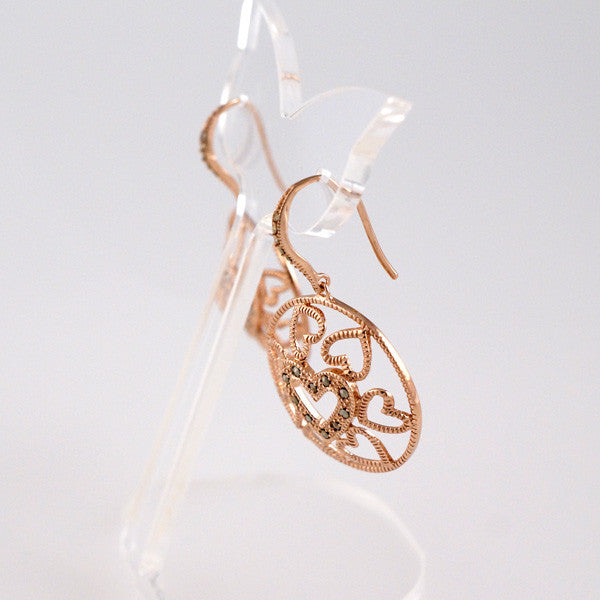 MARC - Rose Gold Plated Hearts Earrings