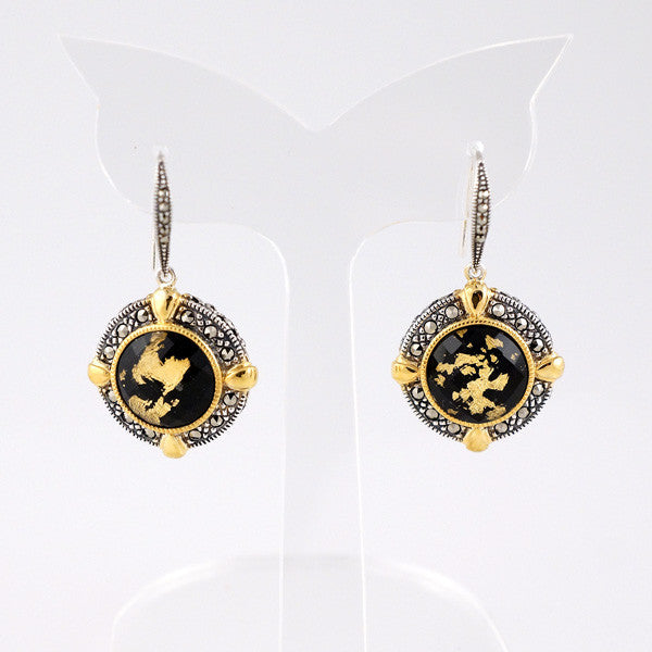 Crystal Gold Leaf Black Onyx Doublet & Marcasite (Gold Plated) Earrings