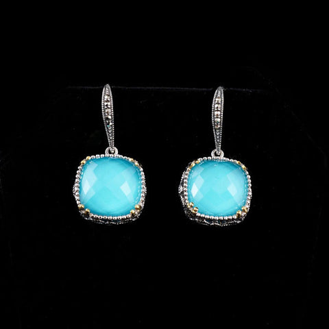 Turquoise Crystal Doublet with Gold Plated Earrings