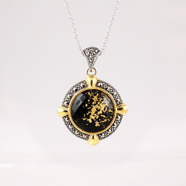 Crystal Gold Leaf Black Onyx Doublet & Marcasite Necklace