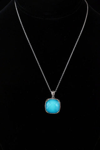 Turquoise Crystal Doublet with Gold Plated Necklace