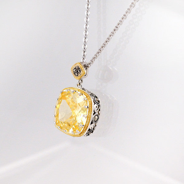 Pendant Set With Canary Cubic Zirconia & Marcasite (Gold Plated)