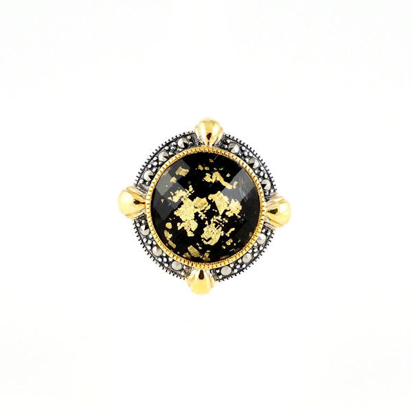 Crystal Gold Leaf Black Onyx Doublet & Marcasite (Gold Plated) Ring