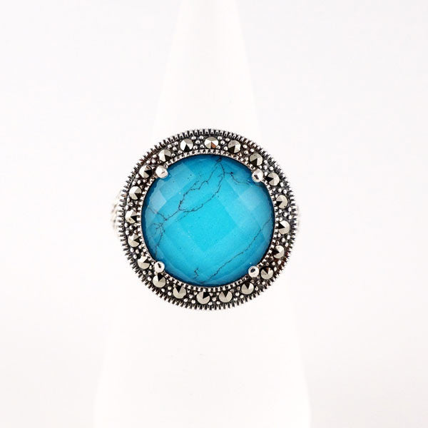 Round crystal doublet turquoise ring