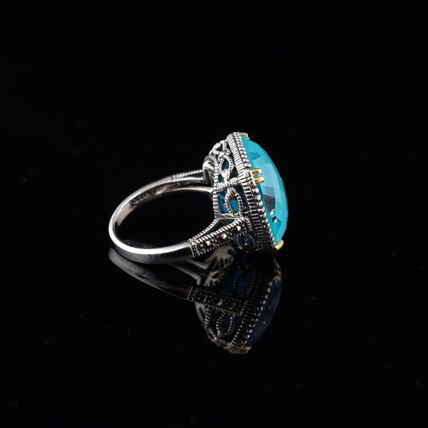 Turquoise Crystal Doublet with Gold Plated Ring