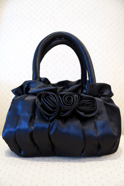 Evening Purse with Roses in Black